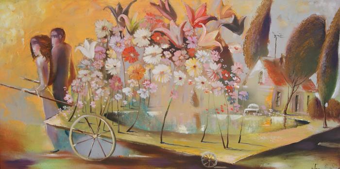 venslausko tapyba pora su vežimu