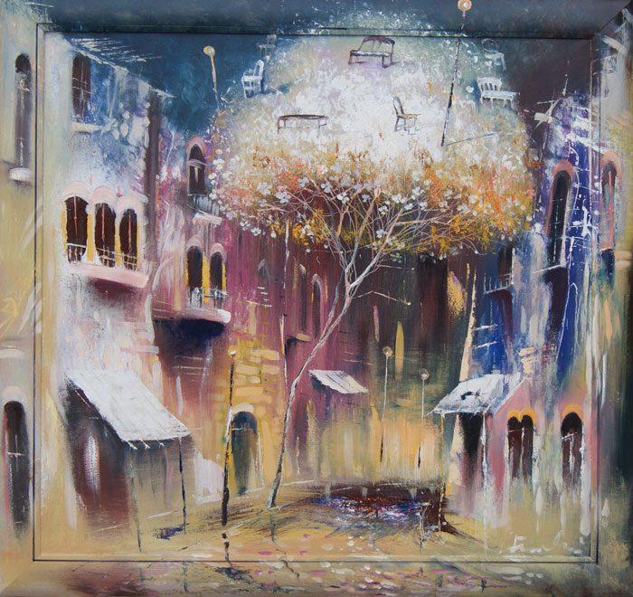 Venslausko paveikslas medis miesto aikštėje
