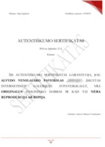 AVpaveikslai paveikslo autentiškumo sertifikatas